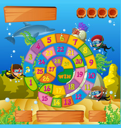 Boardgame template with kids diving under the sea vector