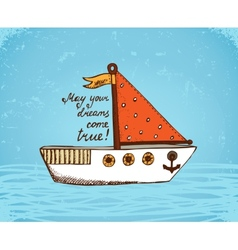 Boat on waves poster vector