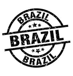 brazil black round grunge stamp vector image