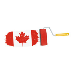 brush stroke with canada national flag isolated on vector image