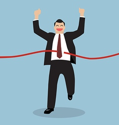 Businessman running at the finish line vector