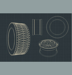 car alloy wheels and tires blueprints vector image