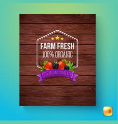 Card of farm fresh 100 percent organic sign vector
