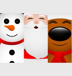 cards with santa claus reindeer and snowman vector image
