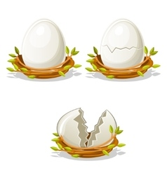 Cartoon funny Egg in birds nest of twigs vector image