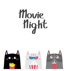 Cat set popcorn soda french fries movie night vector