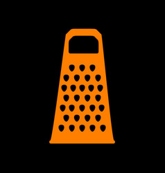 cheese grater sign orange icon on black vector image