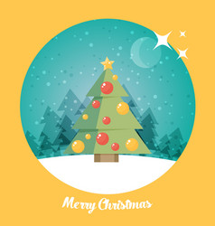 Christmas card christmas tree flat vector