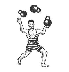 Circus strongman juggles weights engraving vector