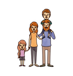 Color crayon stripe cartoon big family parents vector