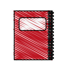 color crayon stripe cartoon red notebook spiral vector image