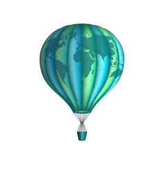 conceptual art of hot air balloon with world map vector image