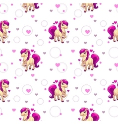 Cute seamless pattern with little cartoon horse vector image