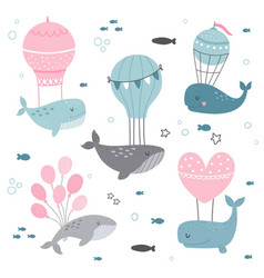 cute whales clip art for kids vector image