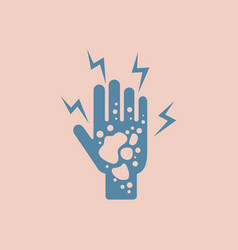 Dermatological effects on hand various symptoms vector