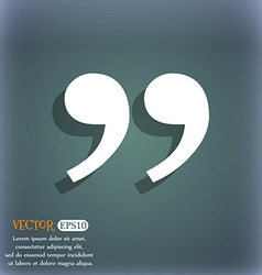 Double quotes at the end of words icon symbol on vector image