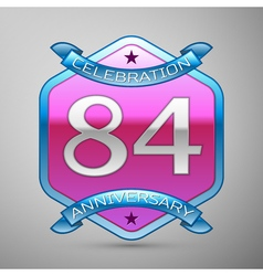 Eighty four years anniversary celebration silver vector