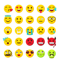 emoticons set emoji faces emoticon funny smile vector image