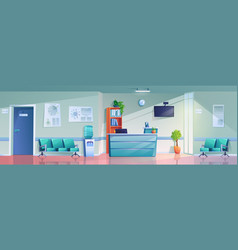 empty hospital reception with furniture schedules vector image