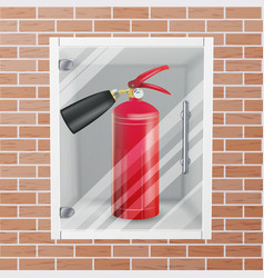 Fire extinguisher in wall niche realistic vector