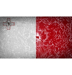 Flags Malta with broken glass texture vector