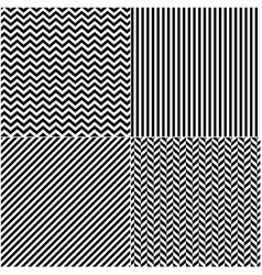 four classic black and white lines seamless vector image
