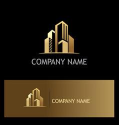 Golden building cityscape logo vector