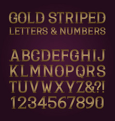golden striped letters and numbers with vector image
