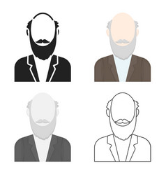 Gray beard icon cartoon single avatarpeaople vector