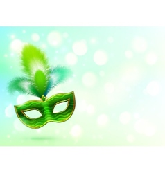 Green carnival mask with feathers banner vector image