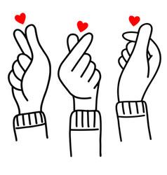 Hand drawn korean love sign doodle korea vector