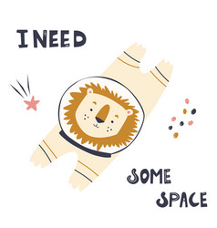 happy astronaut lion in a spacesuit and helmet vector image