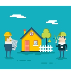 Happy Builder Designer Engineer Foreman Characters vector
