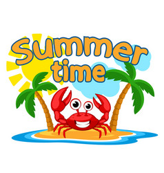 Happy crab on an island summer time logo vector