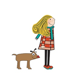 happy dog with girl vector image