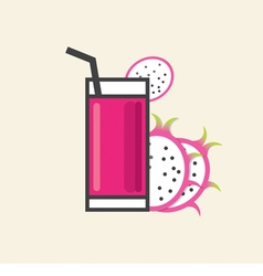 Healthy Refreshment A Glass Of Dragon Fruit Juice vector