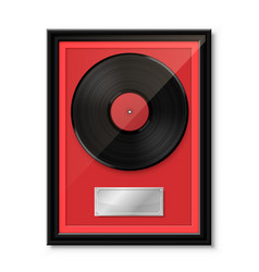 Hit vinyl in frame on wall collection disc vector