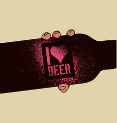 I love beer beer stencil spray grunge poster vector