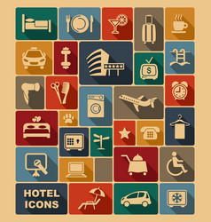 icons on a hotel theme vector image