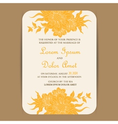 invitation card with yellow vintage flowers vector image
