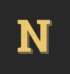 logo letter n gold vintage vector image