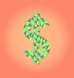 low poly dollar sign vector image