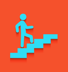 Man on stairs going up whitish icon on vector
