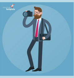 Man with dslr camera vector