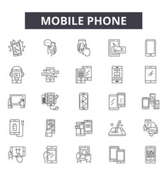 mobile phone line icons signs set vector image