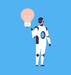 Modern robot new idea light lamp innovation helper vector
