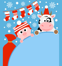 New year background card with pig and cow vector