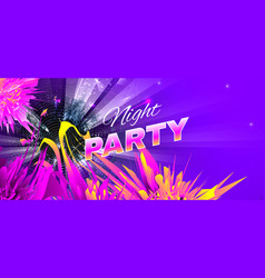 night party bright colorful purple theme vector image