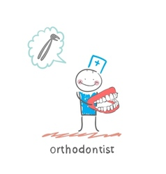orthodontist with the jaw in the hands of thinking vector image