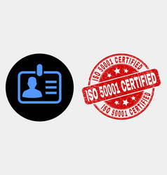 person badge icon and distress iso 50001 vector image